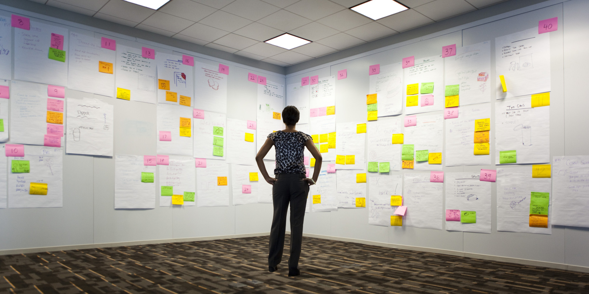 Woman looking at wall of ideas